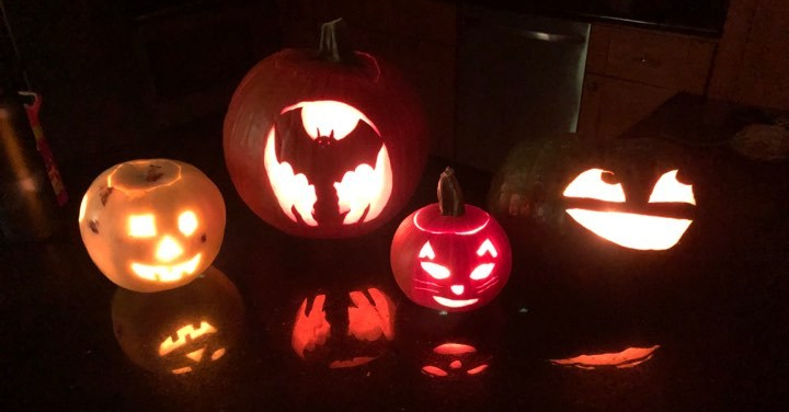 four carved pumpkins: a silly face, a bat, a cat, and a grinning emoji face